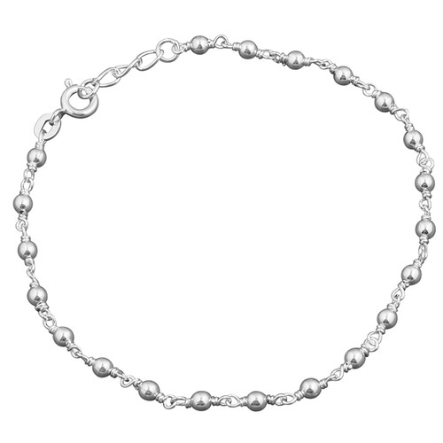 "7.5"" - 8"" Sterling Silver Bead Bracelet 3.09g"