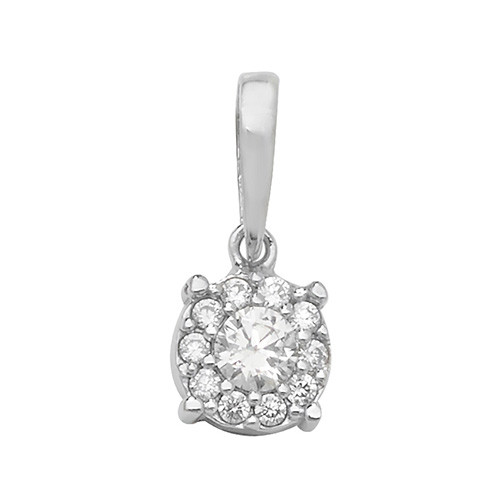 9ct White Gold Cubic Zirconia cluster Pendant 0.71g