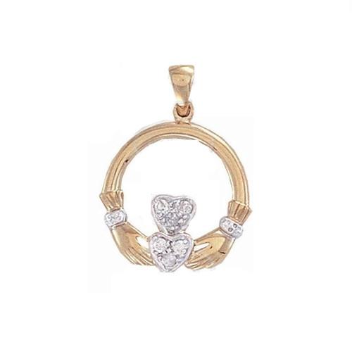 9ct Gold 0.06ct Diamond set claddagh pendant 1.15g