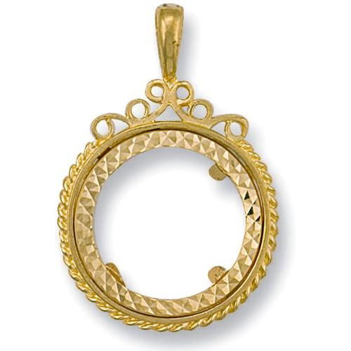 9ct Gold Full Sovereign Coin Pendant Mount 3.3g