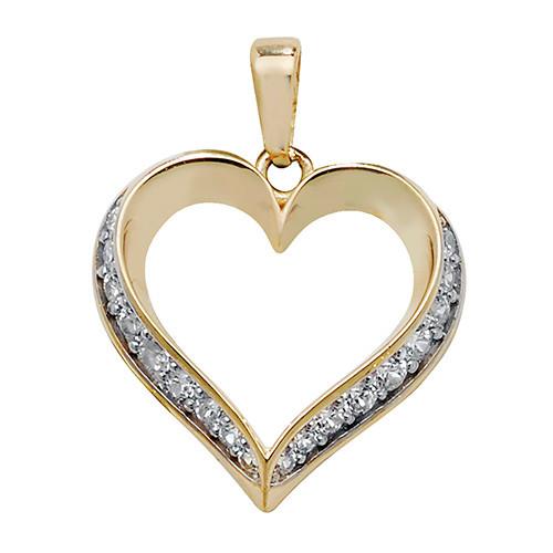 9ct Gold Cubic Zirconia Heart Pendant 0.63g