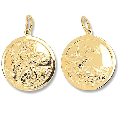 9ct Gold small Double sided St Christopher Pendant 2g