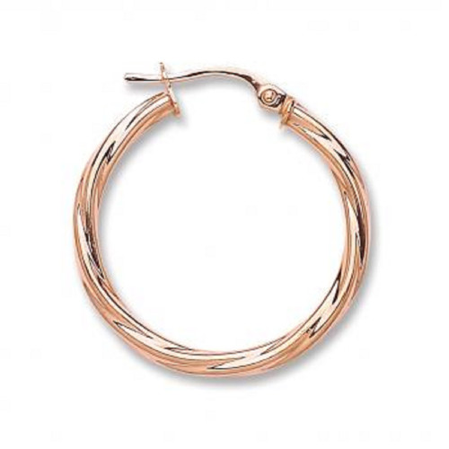 2.4cm wide 9ct Rose Gold Twist Hoop Earrings