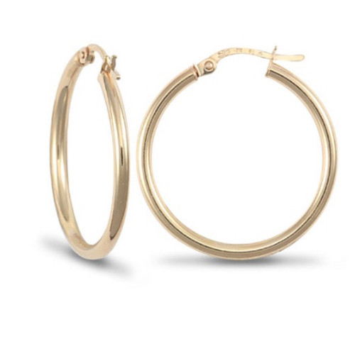 1.9cm wide 9ct gold 2mm thick Hoop Earrings 0.7g