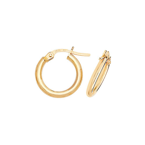 1.3cm wide 9ct gold 2mm thick Hoop Earrings 0.7g