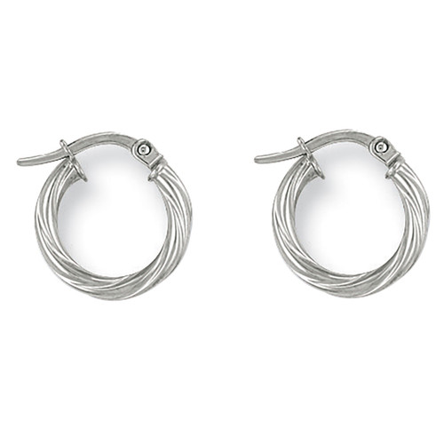 1.4cm wide 9Ct White Gold thick Twist Hoop Earrings 0.7g