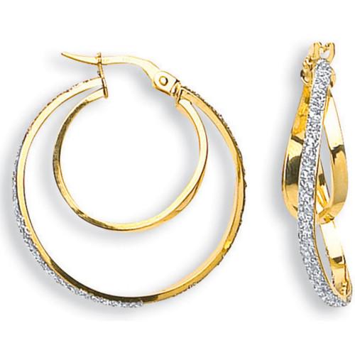 2cm wide 9ct gold moondust set double hoop Earrings 1.6g