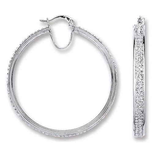 4.3cm wide Sterling silver Crystal Hoop Earrings 9g