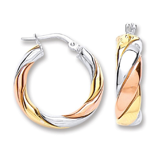 2cm Round three colour gold plated sterling silver twist hoop earrings 4.6g