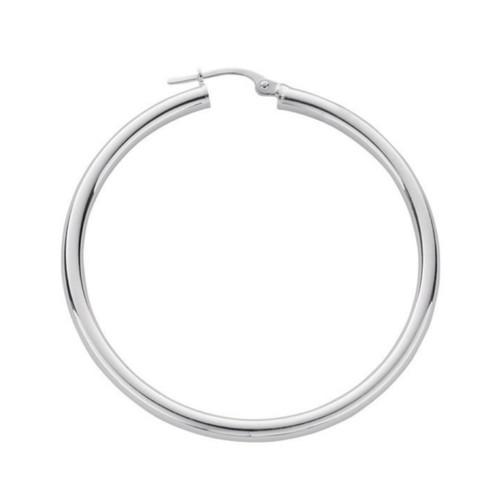 4.5cm Sterling silver Plain hoop Earrings 6g