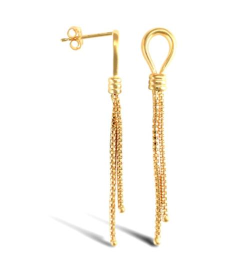 9ct Gold Double Tassel drop stud Earrings 2g