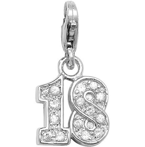 Sterling Silver 18th Birthday Cubic Zirconia Clip-on Charm