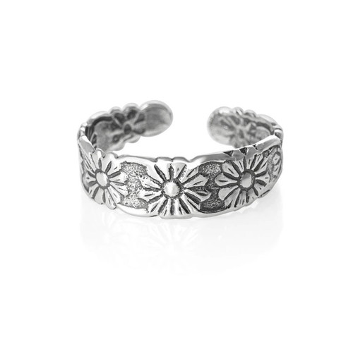 Sterling Silver Floral toe ring 1.25g
