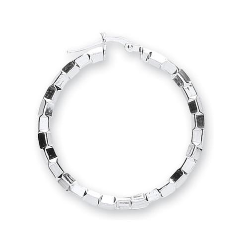 3cm Wide Sterling silver faceted Hoop Earrings 5.7g