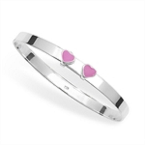 Sterling silver Pink Enamelled Heart Babies expanding Bangle 5.12g
