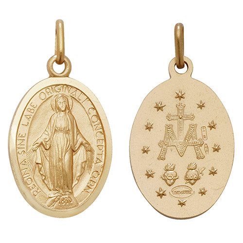 9ct Gold Large Miraculous Madonna Pendant 3.2g