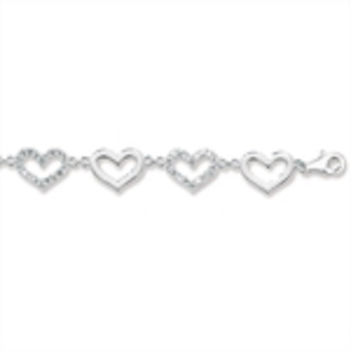 "Ladies 6.5 - 8"" Sterling Silver Cubic Zirconia Heart Link Bracelet"