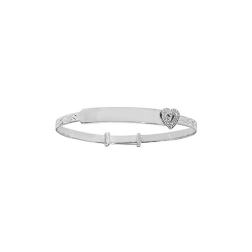 Sterling Silver Kids Expanding ID Bangle with Cubic Zirconia Heart 4.2g