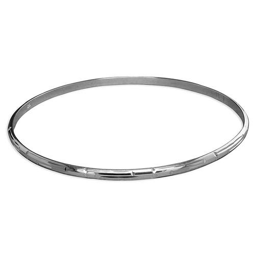 Sterling silver Diamond cut D-shape slave bangle 6.2g