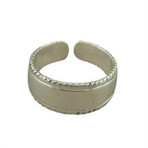 Sterling Silver Wide Band toe Ring with twist edges