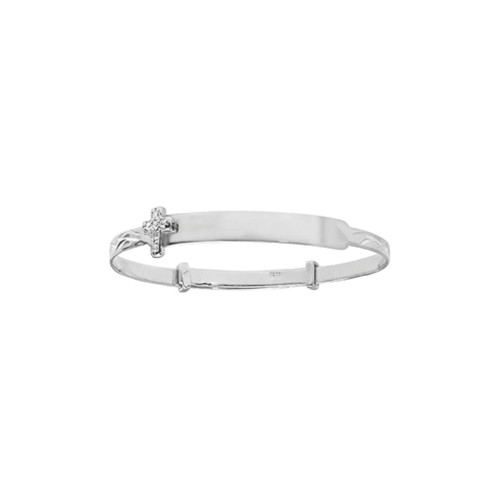 Sterling Silver Kids Expanding ID Bangle with Cubic Zirconia Cross 3g