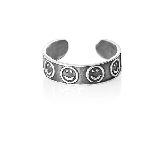 Sterling Silver Happy Face toe ring 1.26g