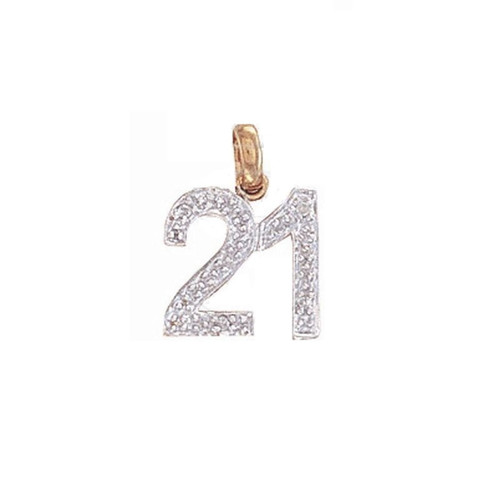 9ct Gold 0.02ct Diamond set 21st Birthday pendant