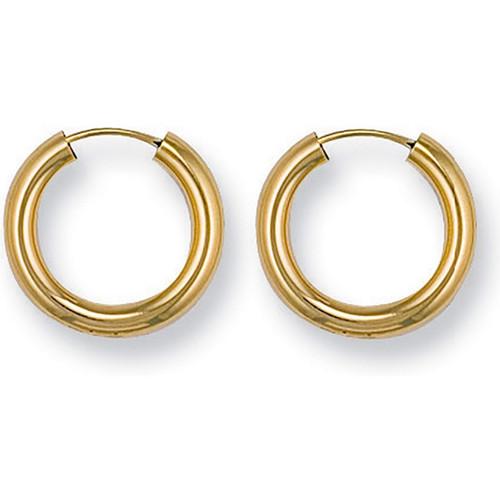 1.5cm wide 9ct gold 2.5mm thick sleeper hoop Earrings