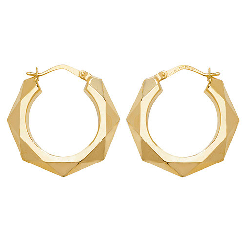 9ct Gold Large Faceted Creole Earrings 1.4g