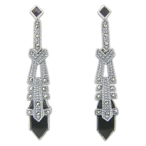 Sterling Silver Onyx & Marcasite tapered Stud Art Deco Drop Earrings