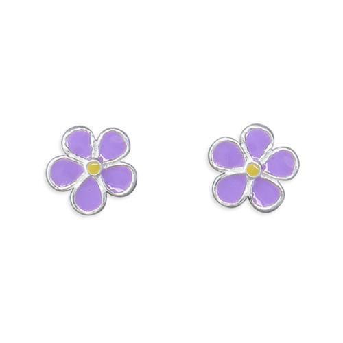 Sterling Silver Lavender Enamelled small Flower stud earrings
