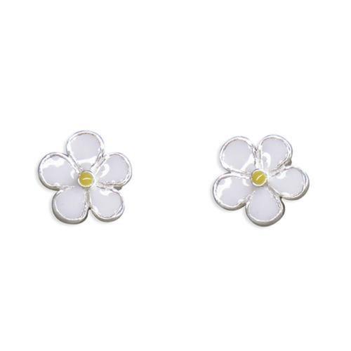 Sterling Silver Small Enamelled Daisy stud earrings