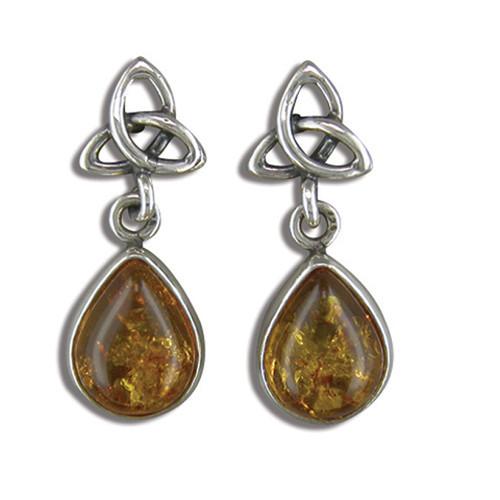 Sterling Silver teardrop Cognac Amber drop Triquetra stud earrings