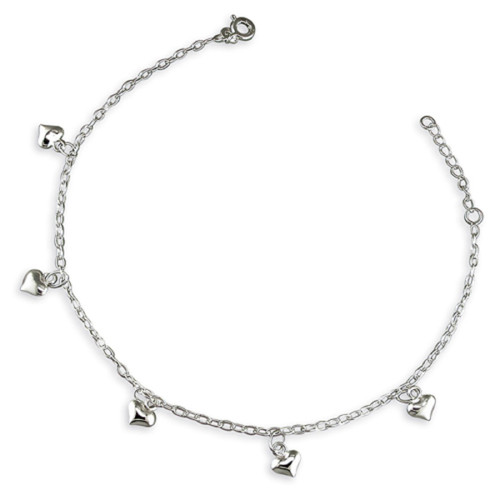 """9"""" -10"""" Sterling Silver Oval Link Belcher Anklet with Puffy Heart Charms"""