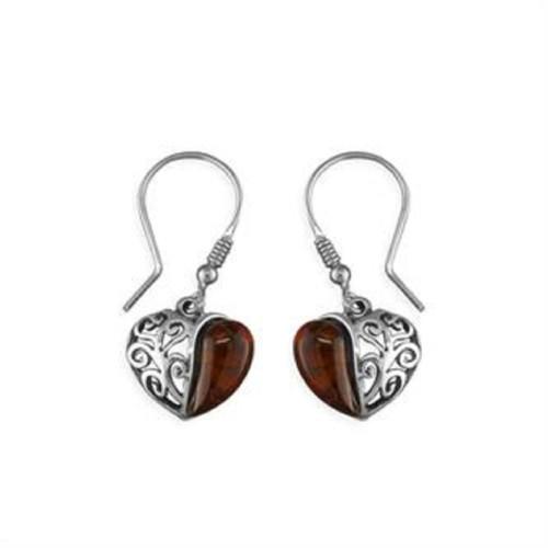 Sterling Silver Hook in Amber Filigree Drop Earrings