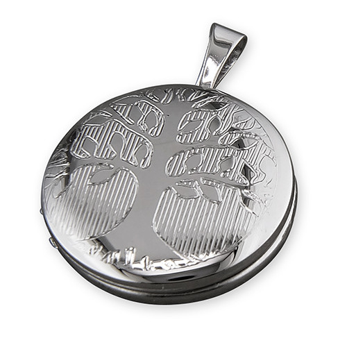 Sterling silver small round tree of life locket