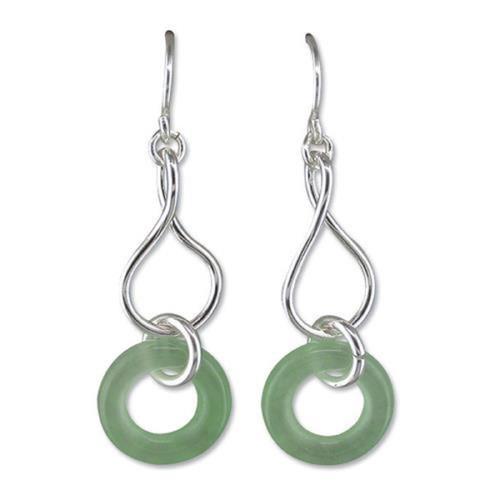 Sterling Silver Green Jade hook in drop earrings