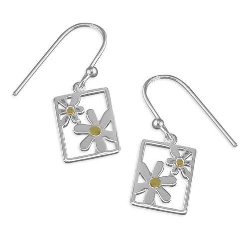 Sterling silver two tone daisy drop earrings