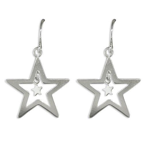 Sterling Silver Cut Out Star hook in Drop Earrings