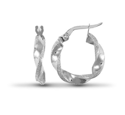 1.6cm wide 9ct White gold polished and frosted Hoop Earrings 1.1g