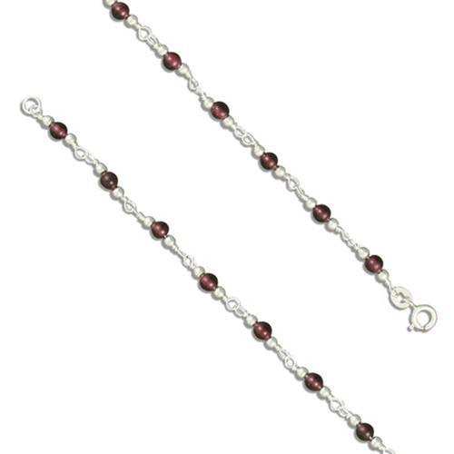 """9.5"""" Sterling silver Garnet Bead anklet"""