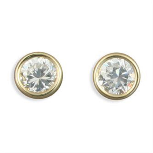 5mm Round Cubic Zirconia Rubover 9Ct Gold Stud Earrings