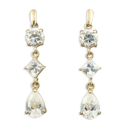 9ct Gold Cubic Zirconia three stone drop stud earrings