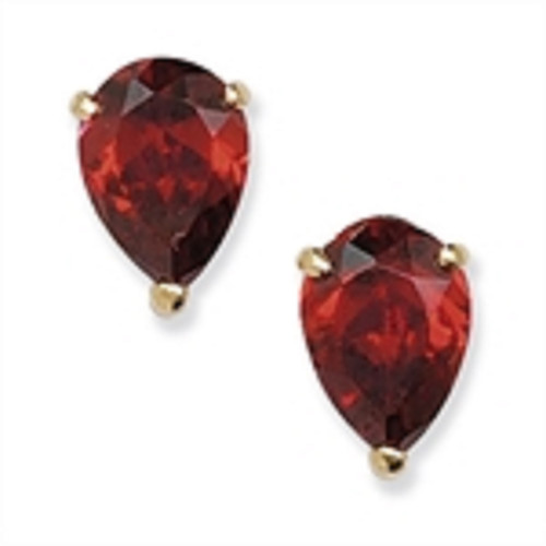 9ct Gold Pear Cut Garnet Cubic Zirconia Stud Earrings 0.84g