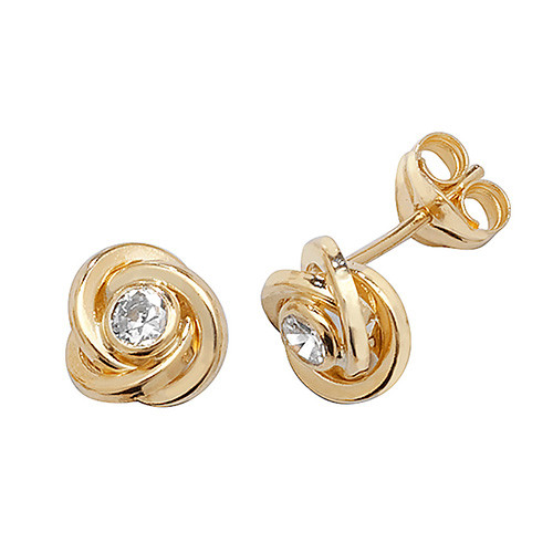 9ct Gold Small Cubic Zirconia in knot stud Earrings