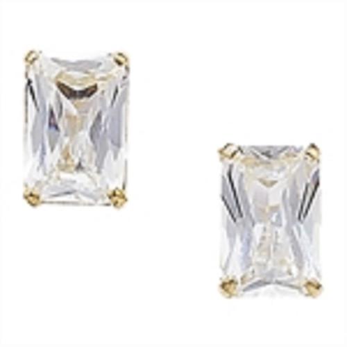 9ct Gold Emerald Cut Cubic Zirconia Stud Earrings