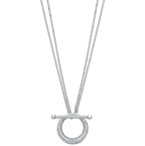"""18"""" Sterling Silver toggle style Cubic Zirconia Necklace 6.4g"""