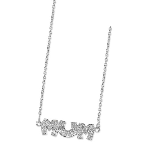 """18"""" Sterling Silver Cubic Zirconia MUM Necklace 4g"""