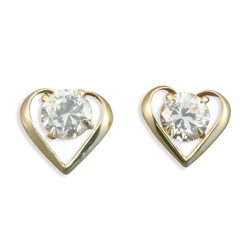 9ct Gold Cubic Zironia Heart shaped cut out stud earrings