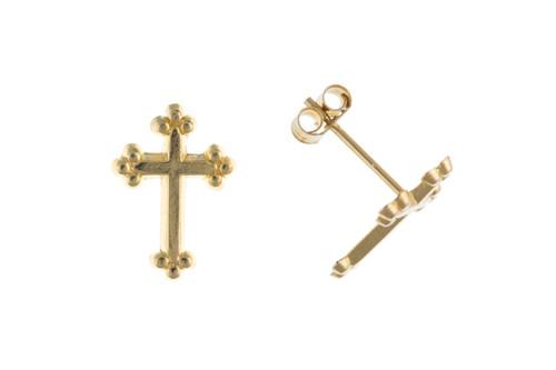 9ct gold budded cross Stud Earrings 0.2g